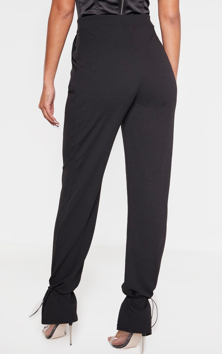 Black Crepe Toggle Hem Pants 4