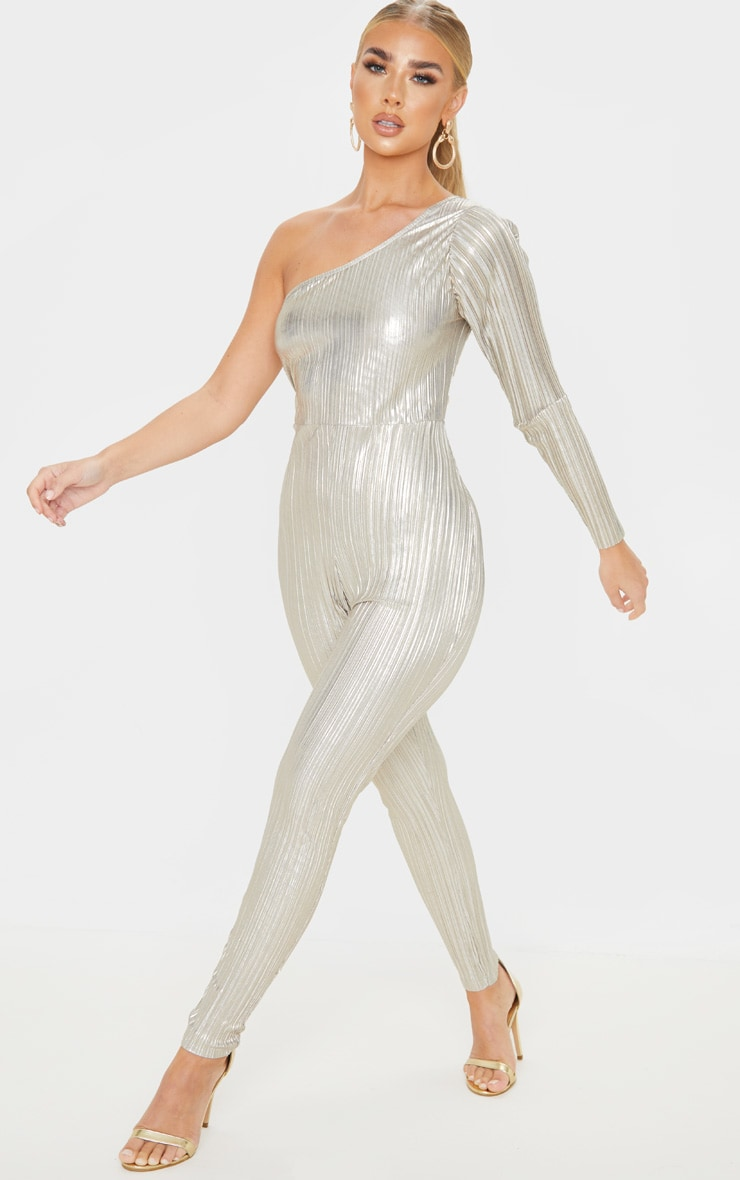 Silver Plisse One Shoulder Jumpsuit 4
