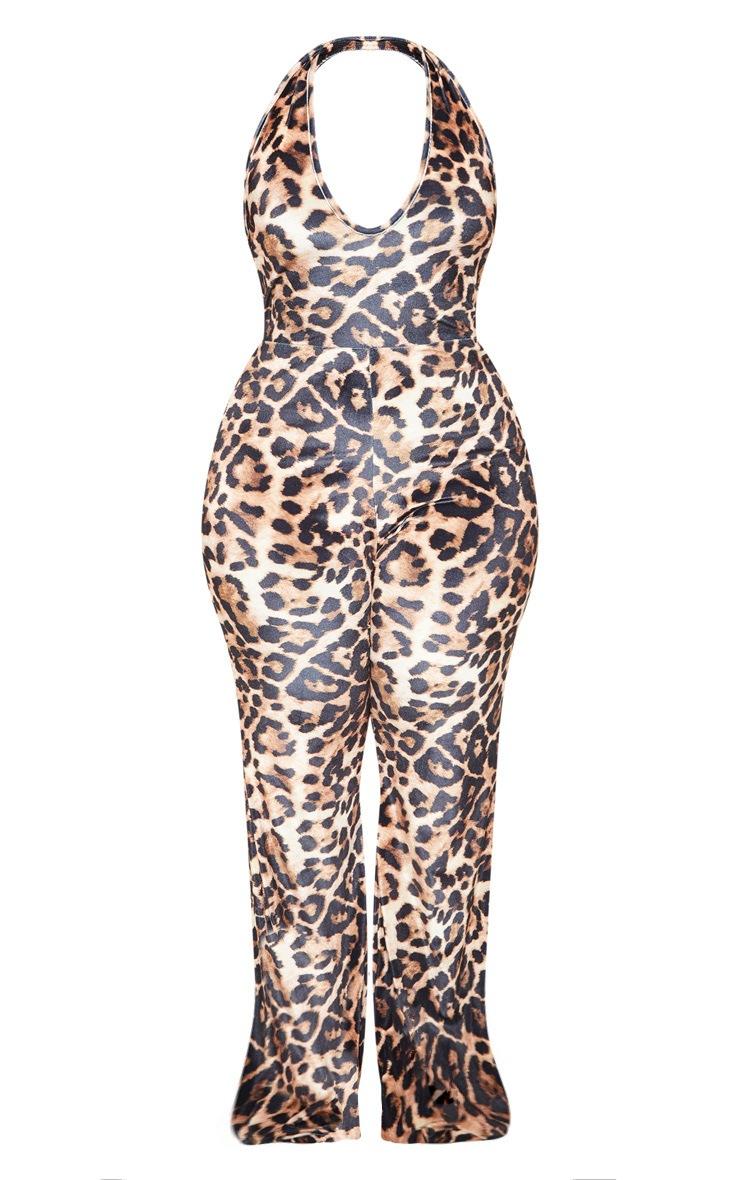 Plus Leopard Print Velvet Halterneck Flare Leg Jumpsuit 4