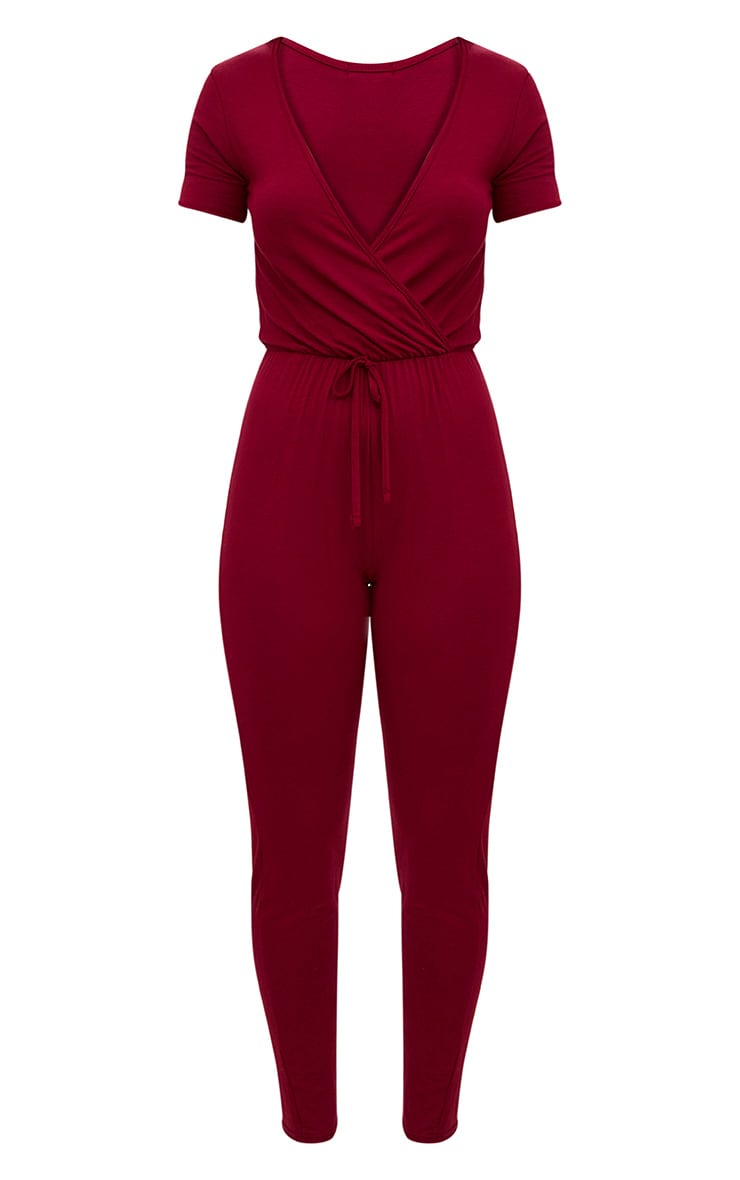 Burgundy Jersey Wrap Jumpsuit  3