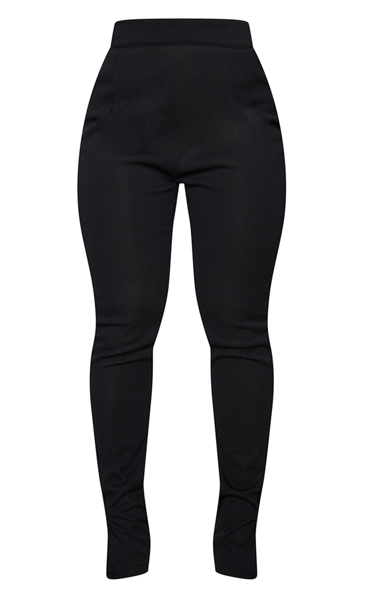 Shape Black Wide Rib High Waist Split Hem Pants 5