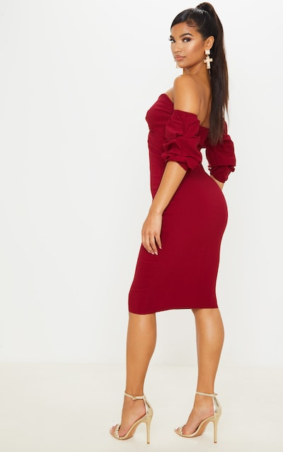 Scarlet Bardot Twist Detail Midi Dress