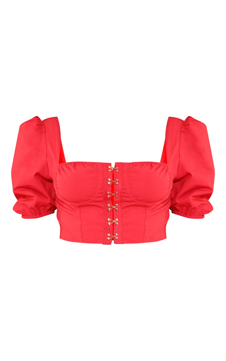 Red Hook & Eye Puff Sleeve Crop Top 3
