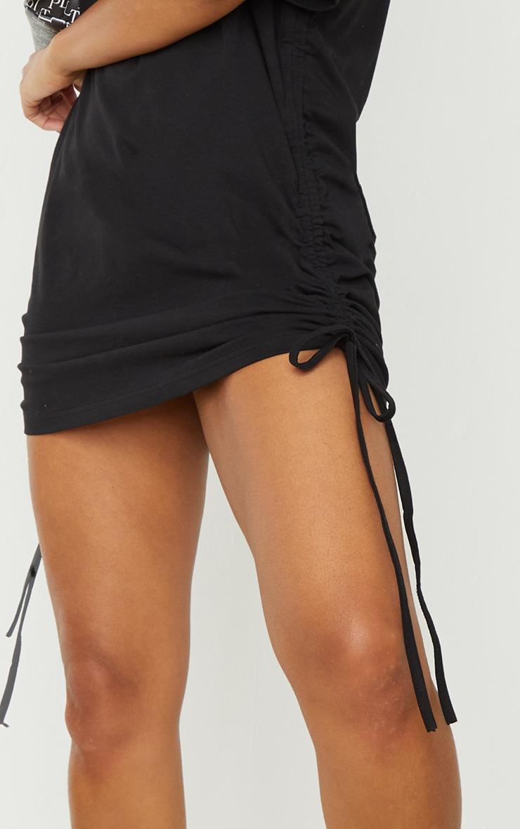 Black Cotton Ruched Side Short Sleeve T Shirt Dress 4