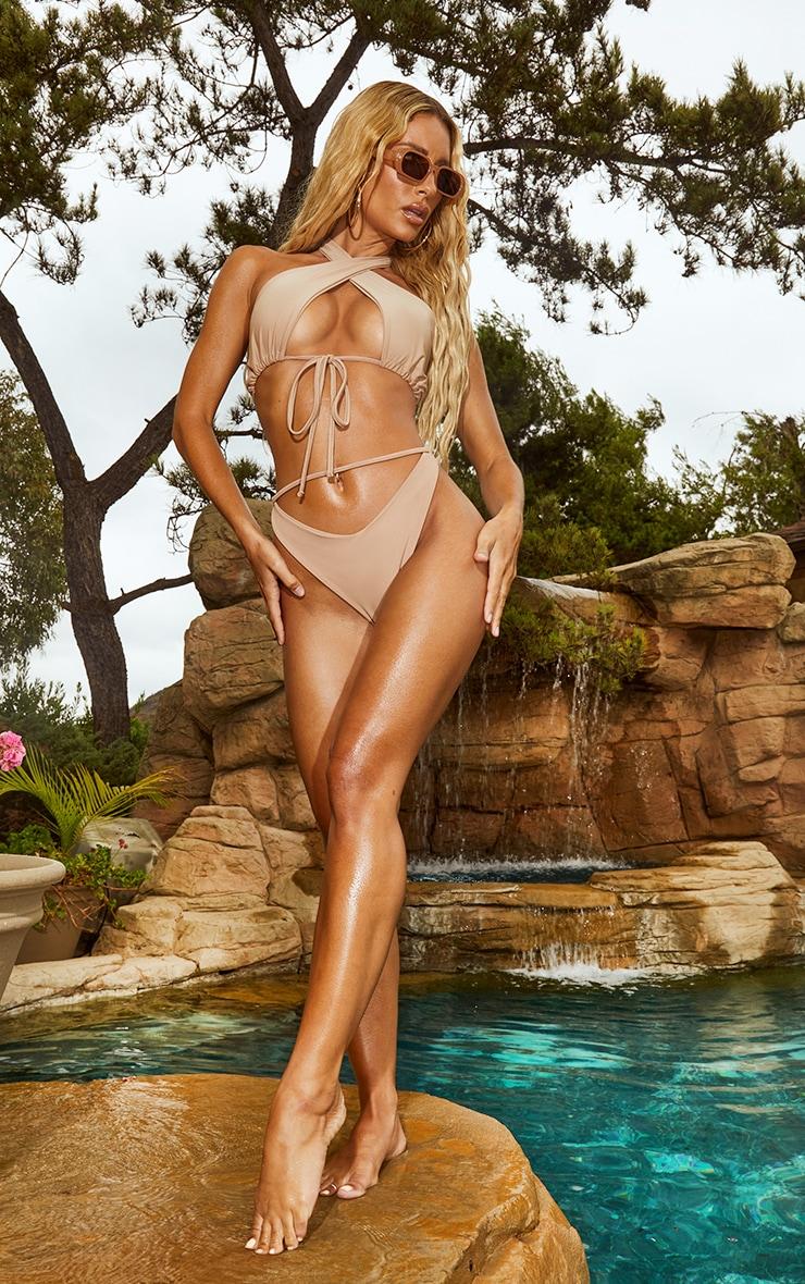 Sand Cut Out Front High Leg Bikini Bottoms 3