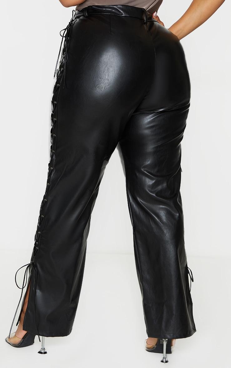 Plus Black PU Lace Up Detail Straight Leg Pants 3