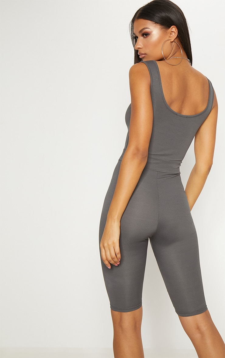 PRETTYLITTLETHING Charcoal Ribbed Toggle Waist Scoop Neck Unitard Sale Online Store 6KJggn