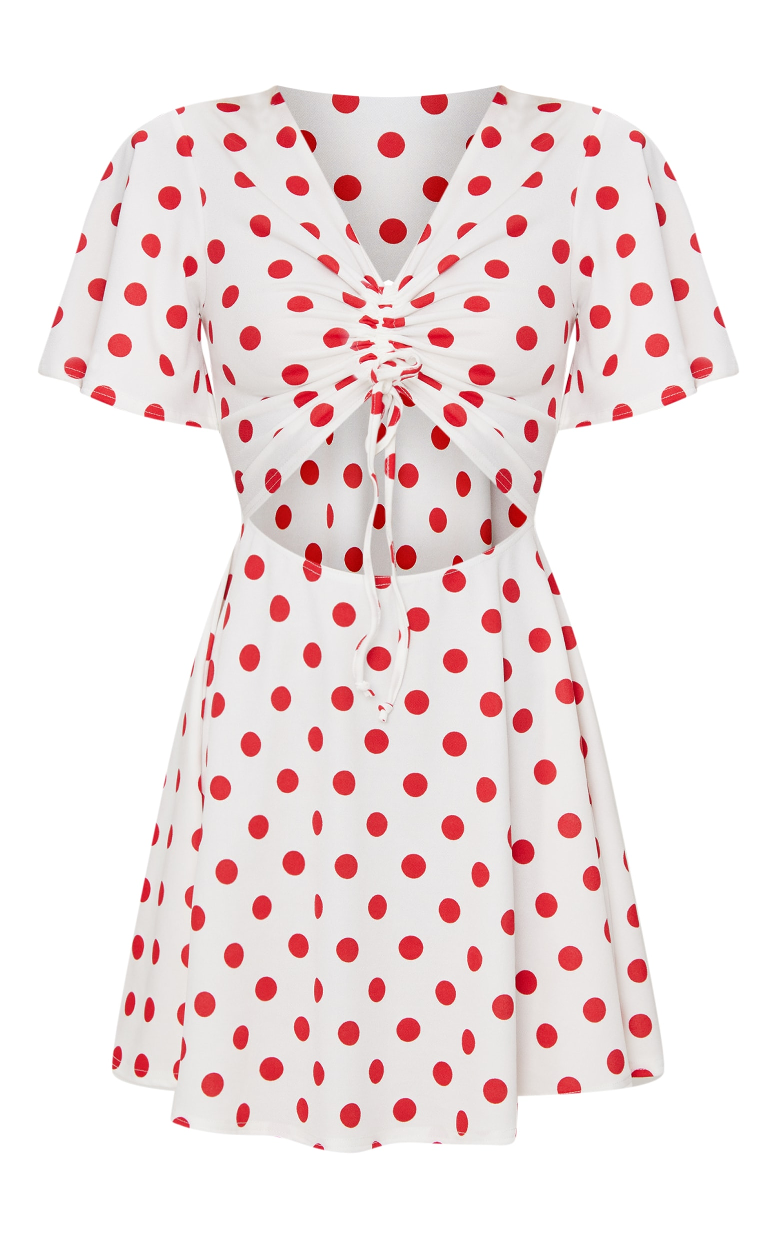 Red Polka Dot Cut Out Ruched Detail Swing Dress 3