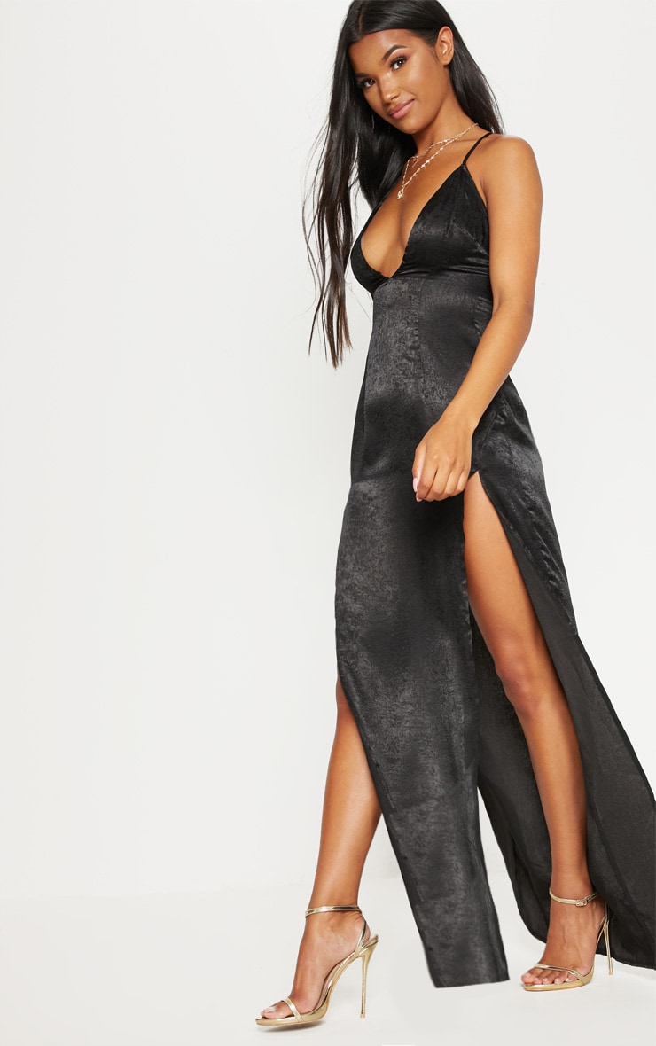 Black Satin Slip Maxi Dress 4