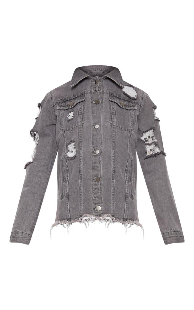 Abegaila Charcoal Distressed Denim Jacket 3