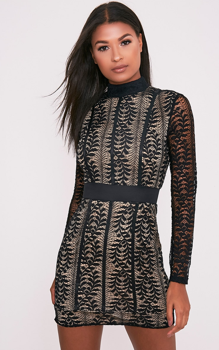 Kirina Black High Neck Lace Bodycon Dress 1