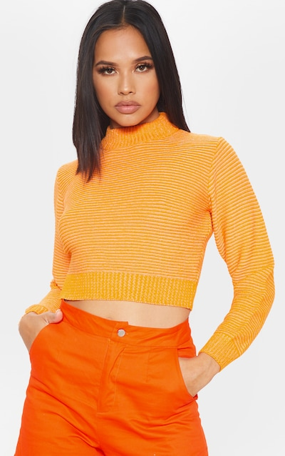 26cd07469b0ce Orange Ribbed Cropped Knitted Jumper