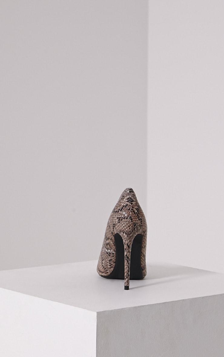 Tina Natural Snakeskin Court Shoes 5