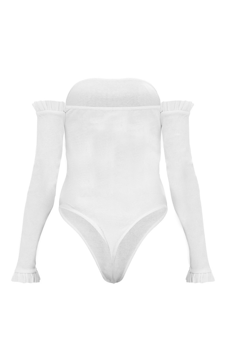 Body-string bardot blanc jersey côtelé manches volantées 4