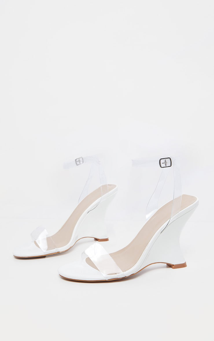 White Patent Clear Strap Wedge 3
