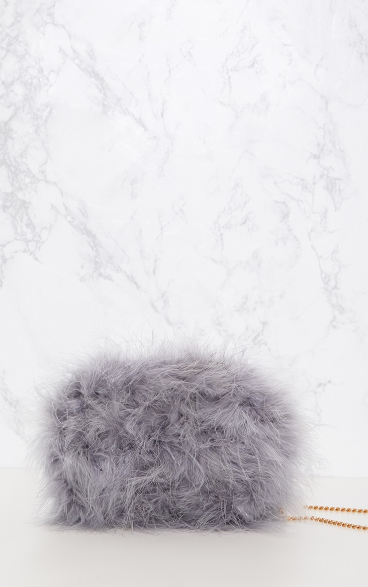 Grey Marabou Feather Clutch Bag 3