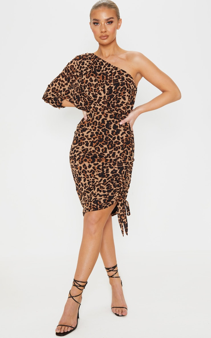 Tan One Shoulder Leopard Print Ruched Midi Dress 1