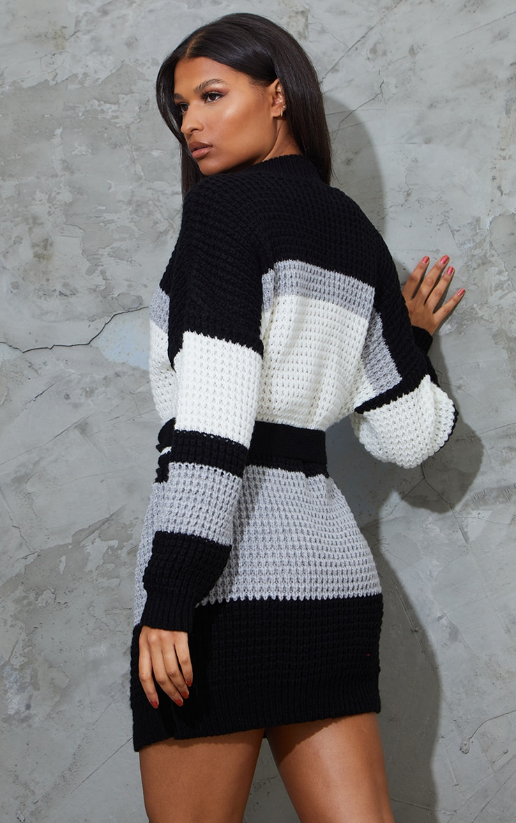 Monochrome Colour Block Waffle Knitted Jumper Dress 2