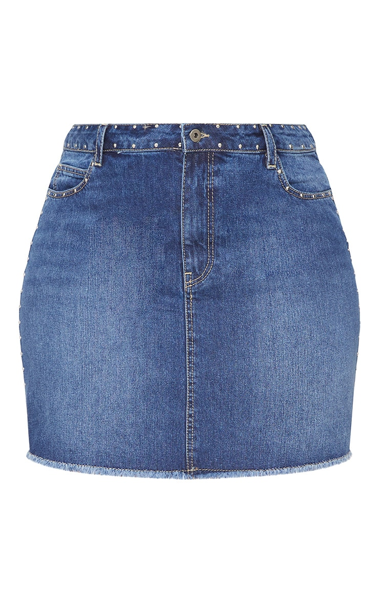 Plus Indigo Studded Raw Hem Demin Skirt 3
