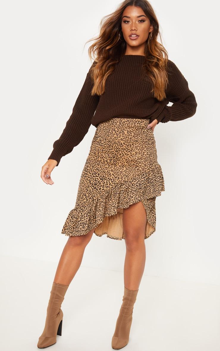 Leopard Print Frill Midi Skirt 1