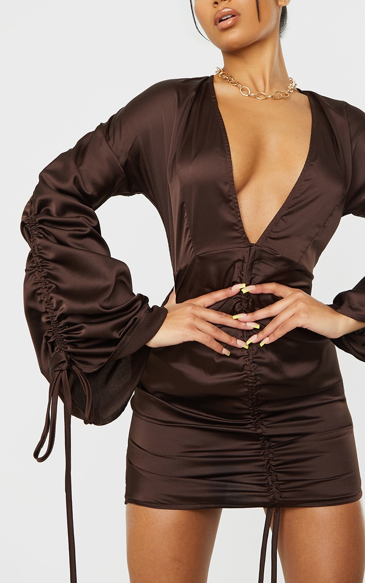 Chocolate Satin Plunge Ruched Front Bodycon Dress 4