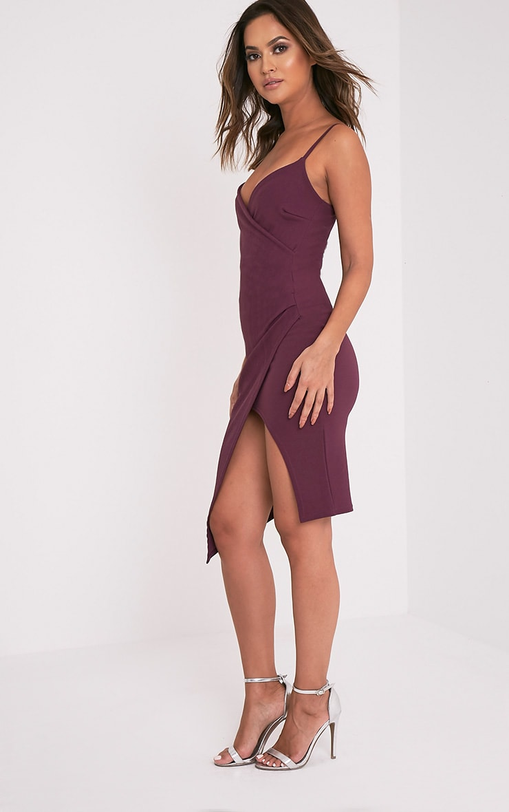 Lauriell Aubergine Wrap Front Crepe Midi Dress 4