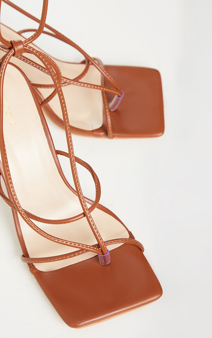 Chocolate Square Toe Strappy Lace Up Toe Thong High Heels Sandals 3