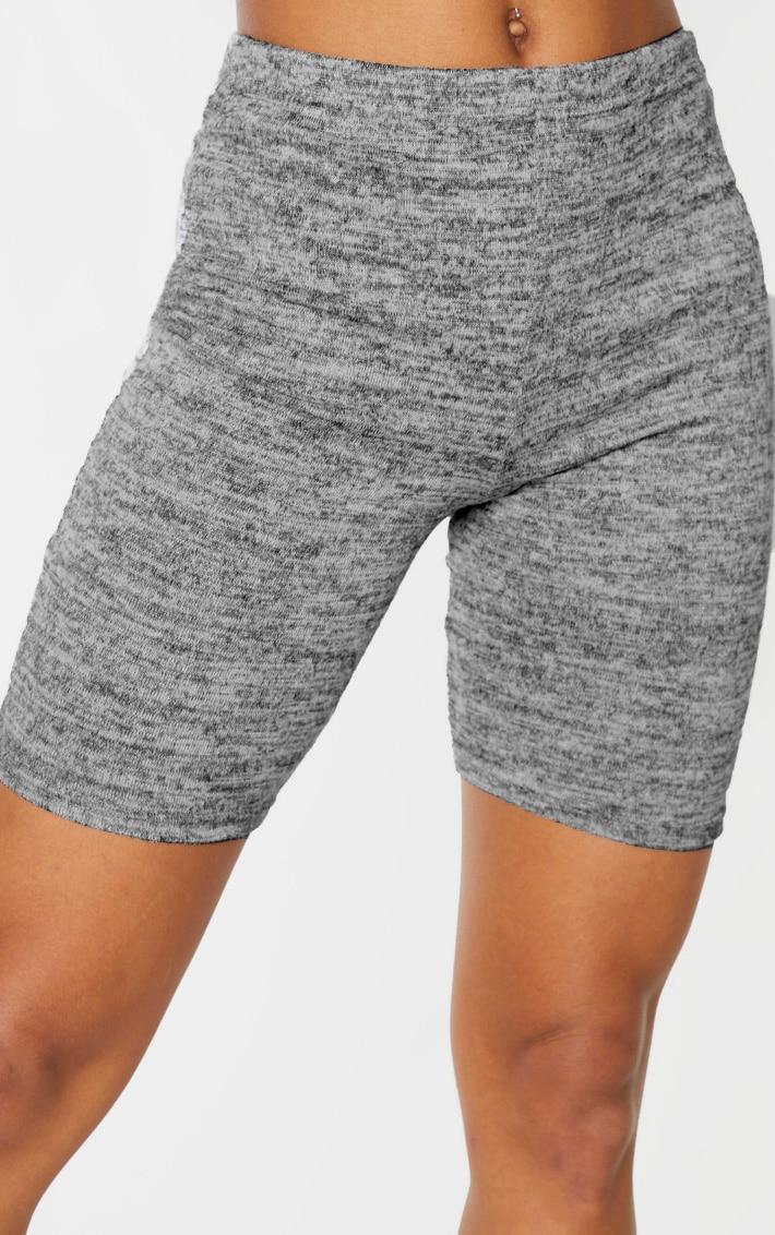 Grey Marl Brushed Textured Cycle Short 6