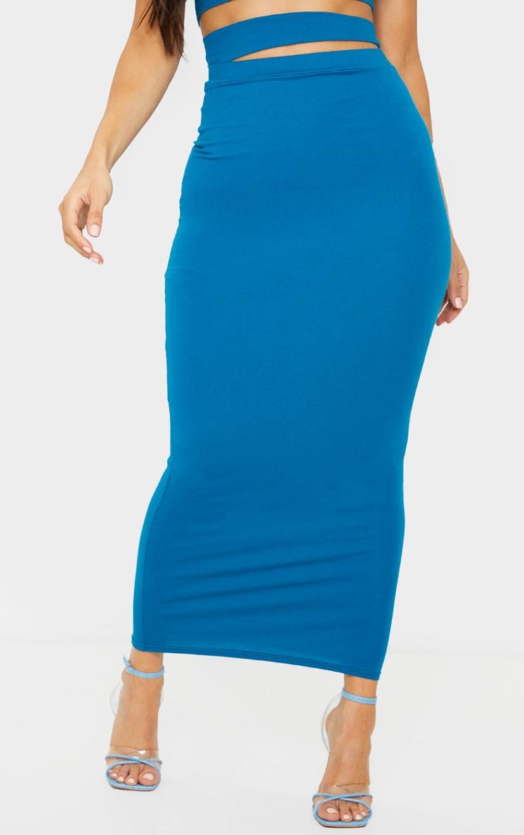Teal Cotton Cut Out Waist Midaxi Skirt 2