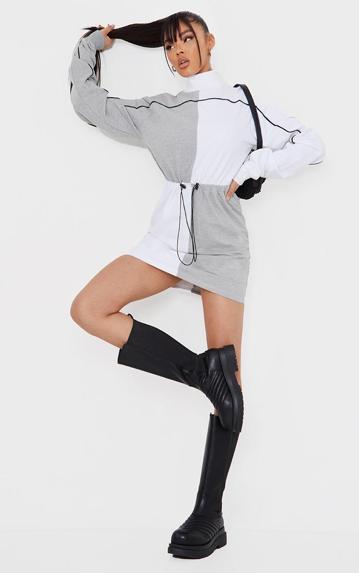 Grey Contrast Block High Neck Toggle Waist Sweatshirt Dress 1