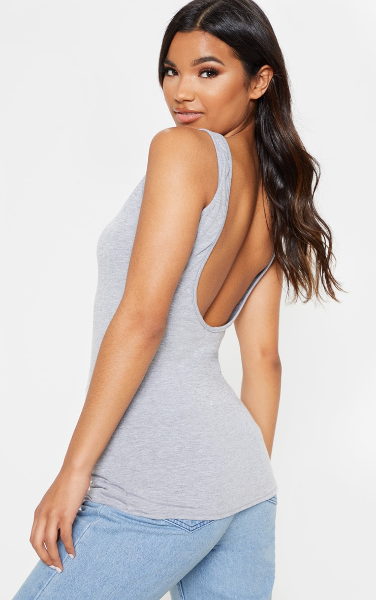 Basic Grey Jersey Scoop Low Back Longline Vest 1