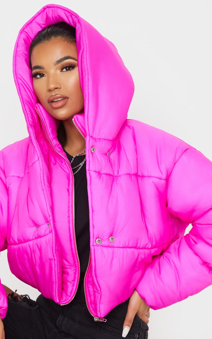 Hot Pink Double Layer Cropped Hooded Puffer 5