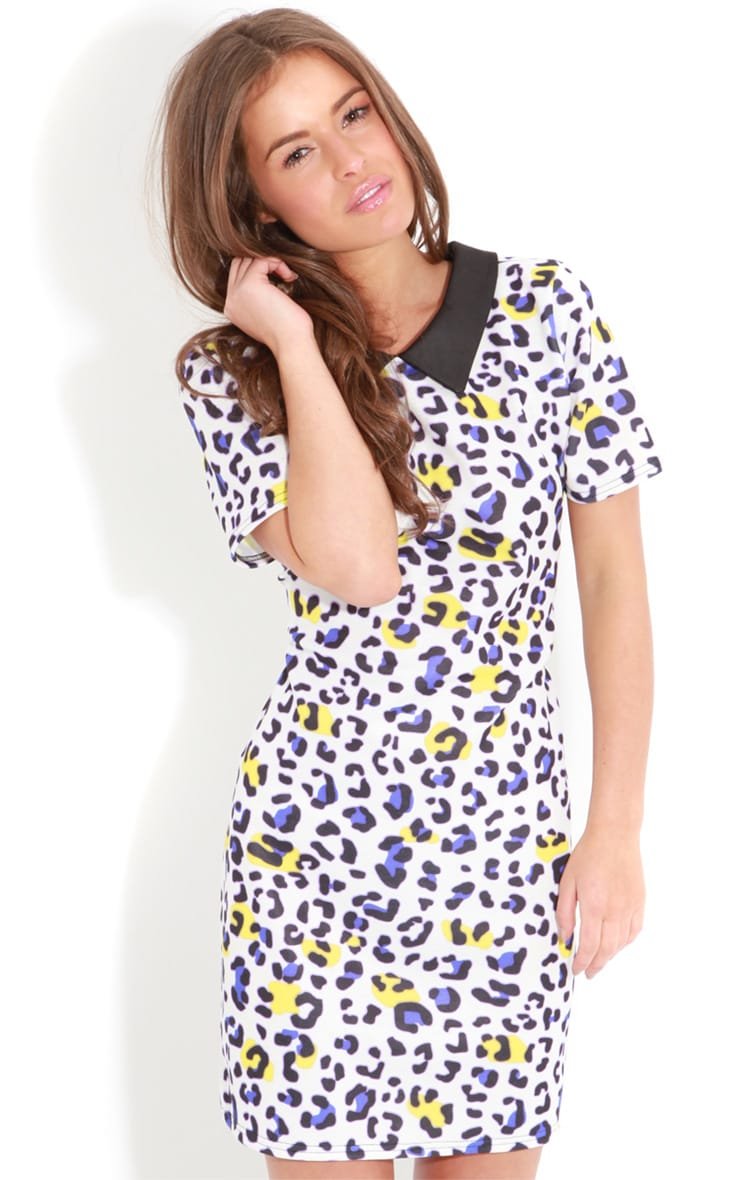 Aisling Purple Leopard Print Shift Dress 4
