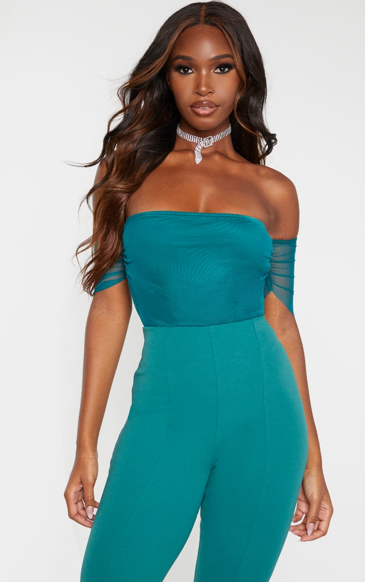 Emerald Green Mesh Ruched Bardot Bodysuit 1