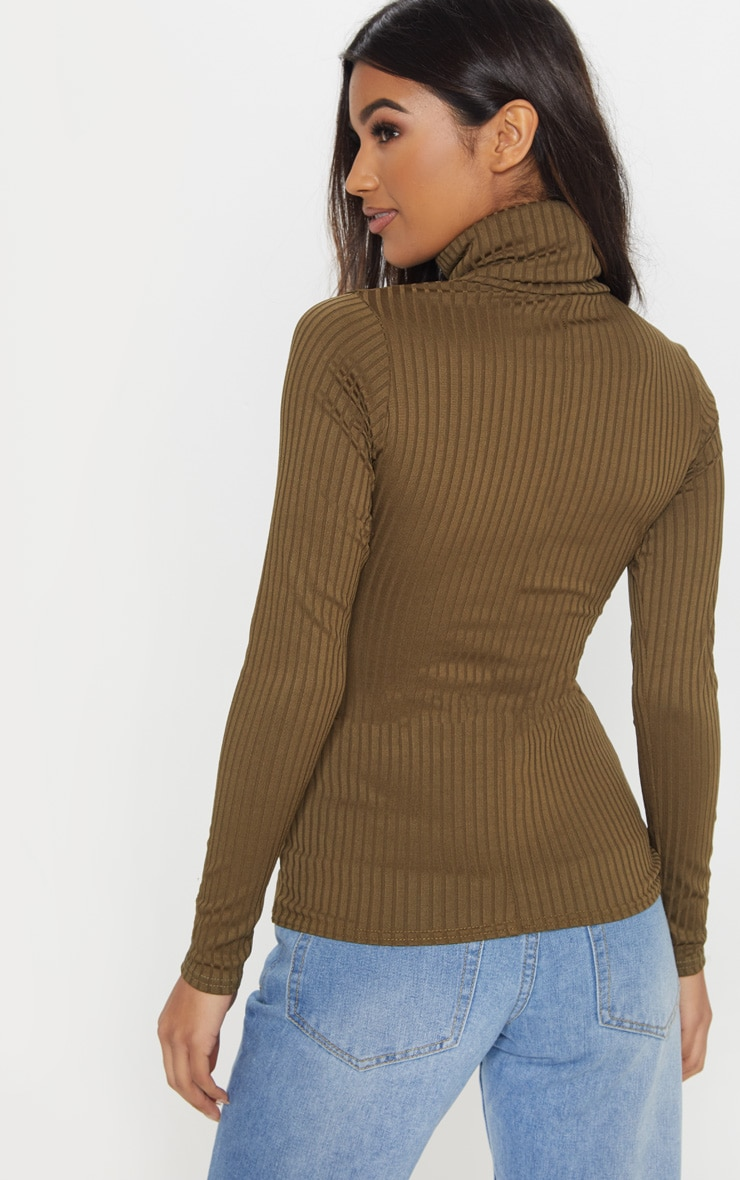 Rheta Khaki Ribbed Polo Neck Top 2