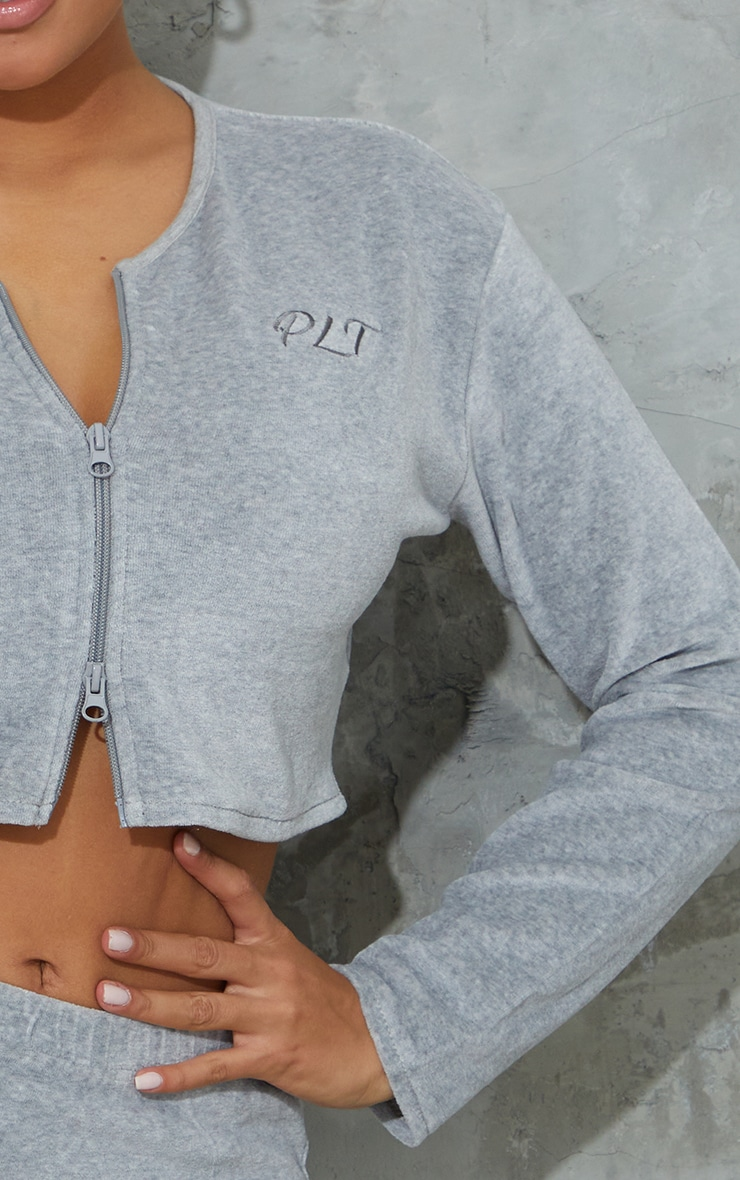 PRETTYLITTLETHING Shape Grey Embroidered Zip Crop Top 4