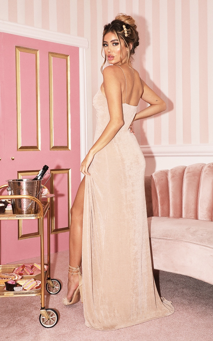 Champagne Strappy Thigh Split Maxi Dress 2
