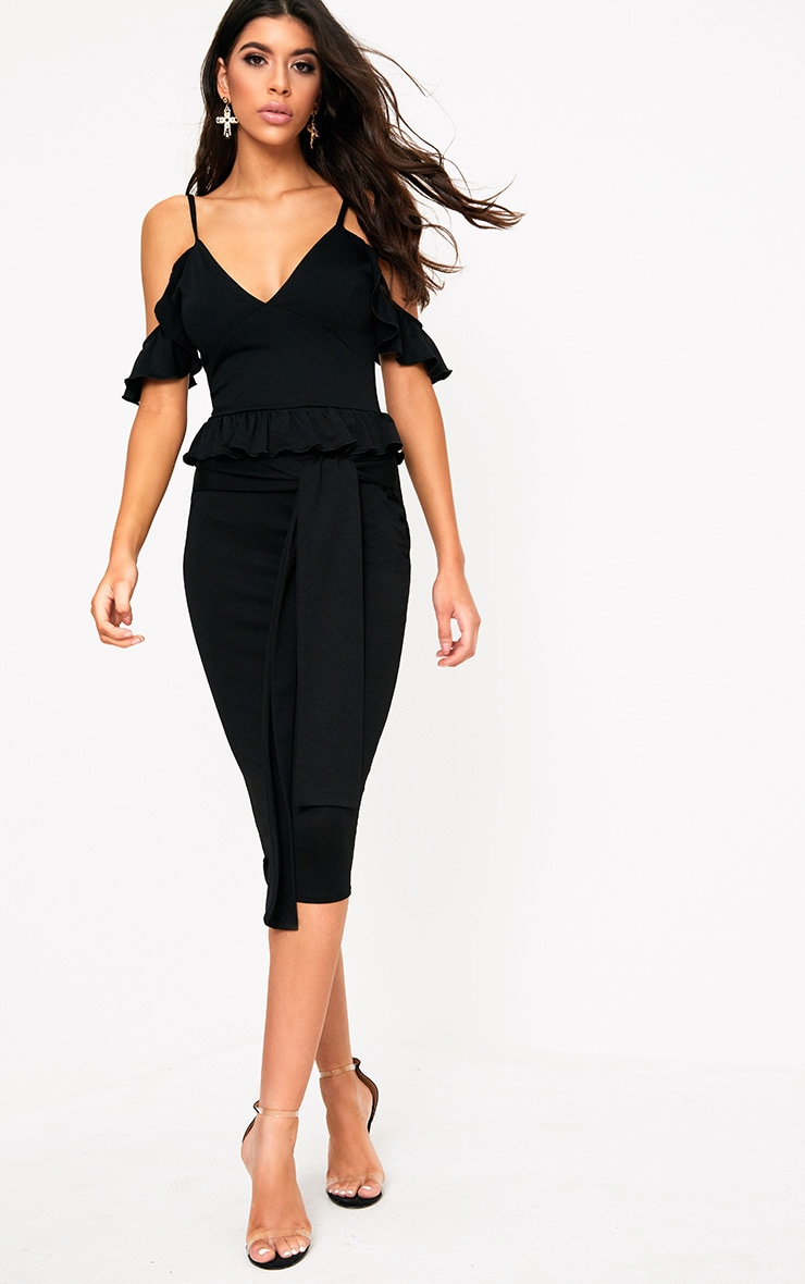Black Cold Shoulder Paper Bag Waist Midi Dress 1