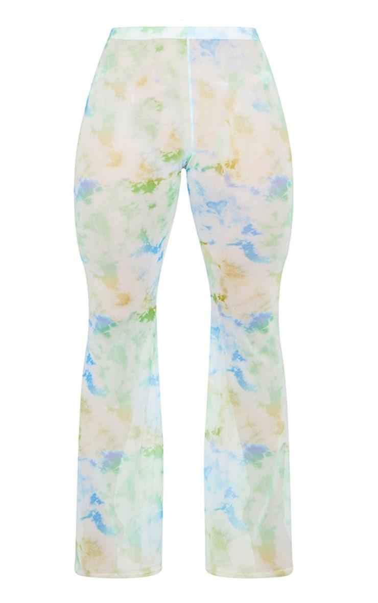 Plus Baby Blue Sheer Tie Dye Flared Pants 5