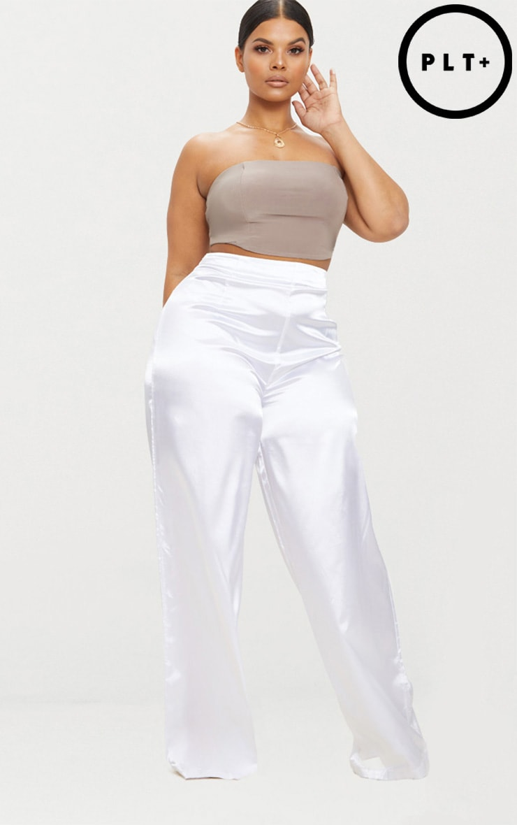 Plus White Satin Wide Leg Trousers 1