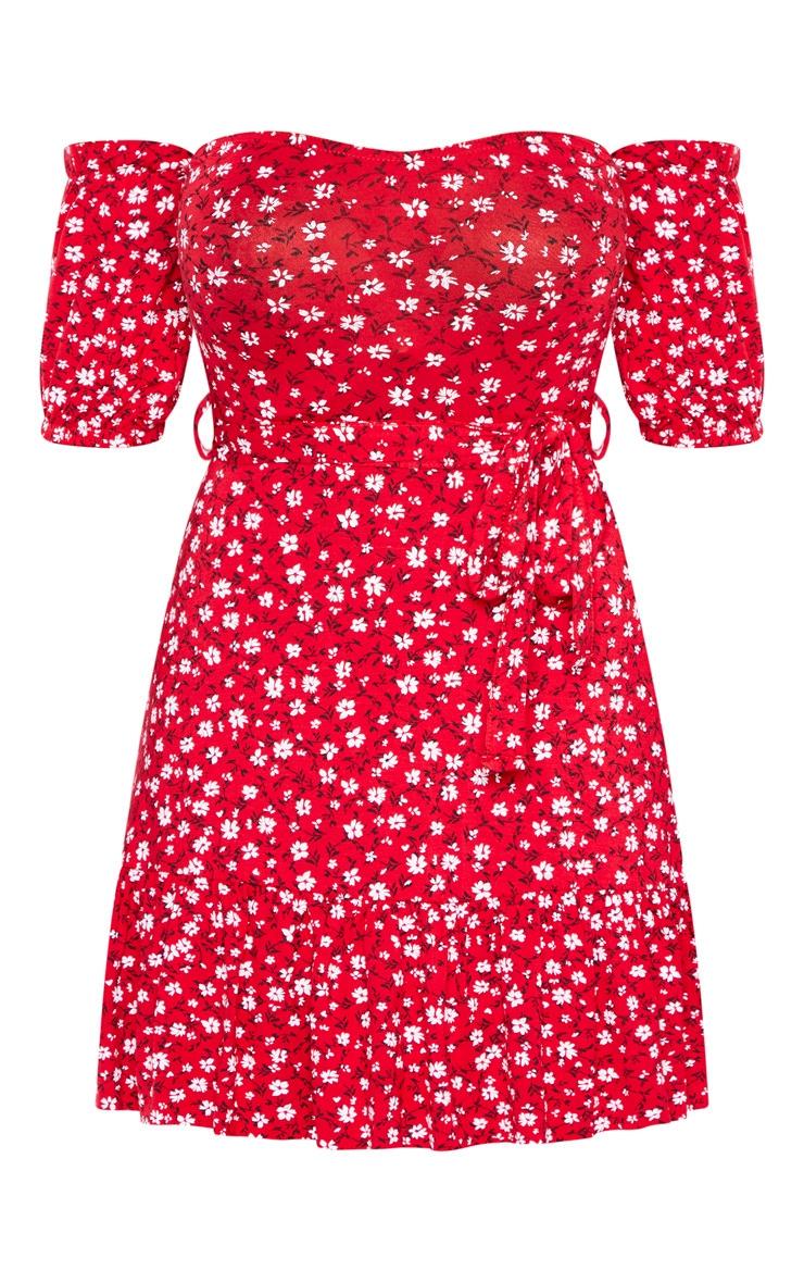 Petite Red Ditsy Printed Bardot Frill Hem Skater Dress 3