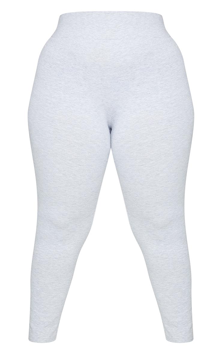 Basic Plus Grey Cotton Blend High Waisted Jersey Leggings 5