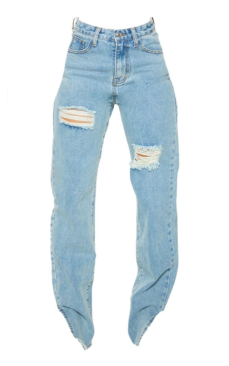 Vintage Wash Double Bum Rip Split Hem Jeans 5