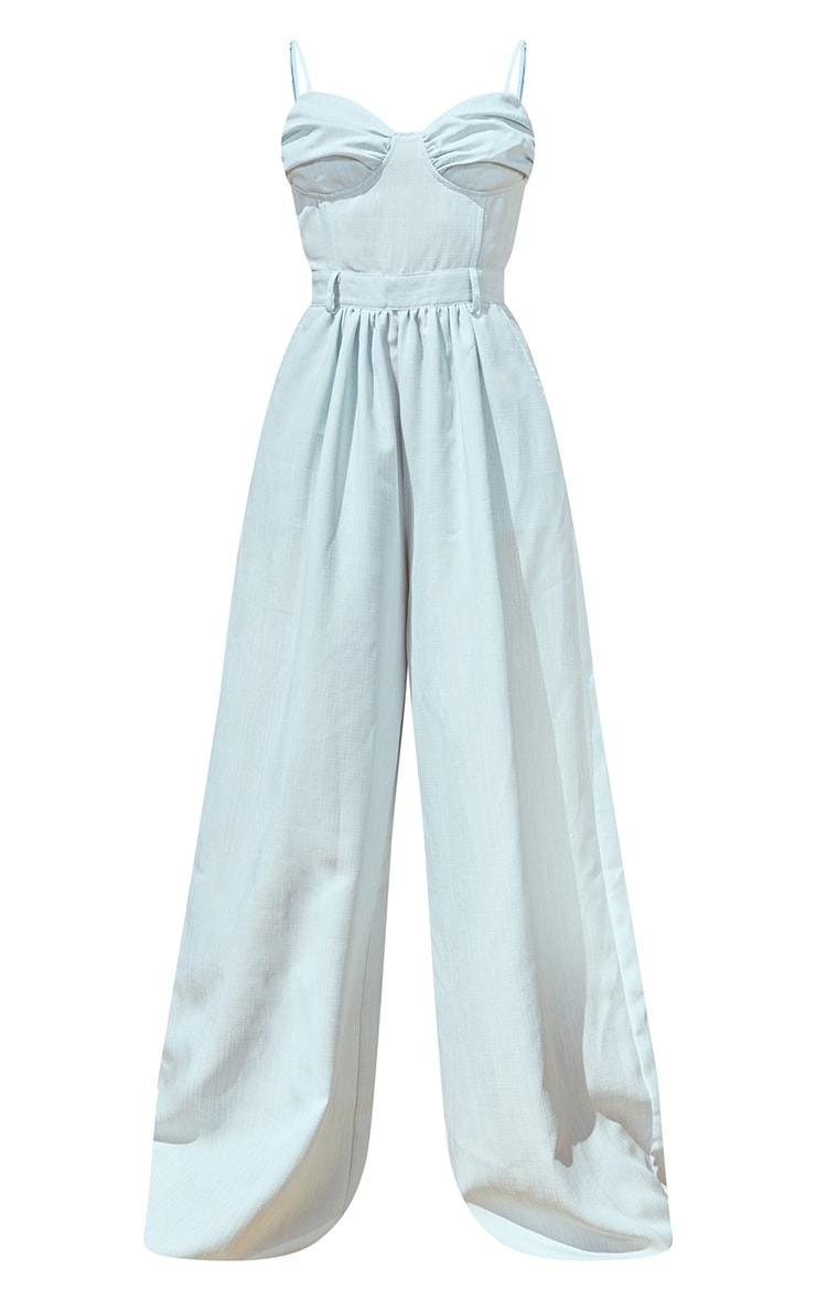Pale Blue Ruched Cup Strappy Wide Leg Jumpsuit 5
