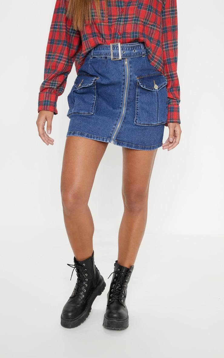 Mid Wash Cargo Pocket Belted Denim Skirt  2