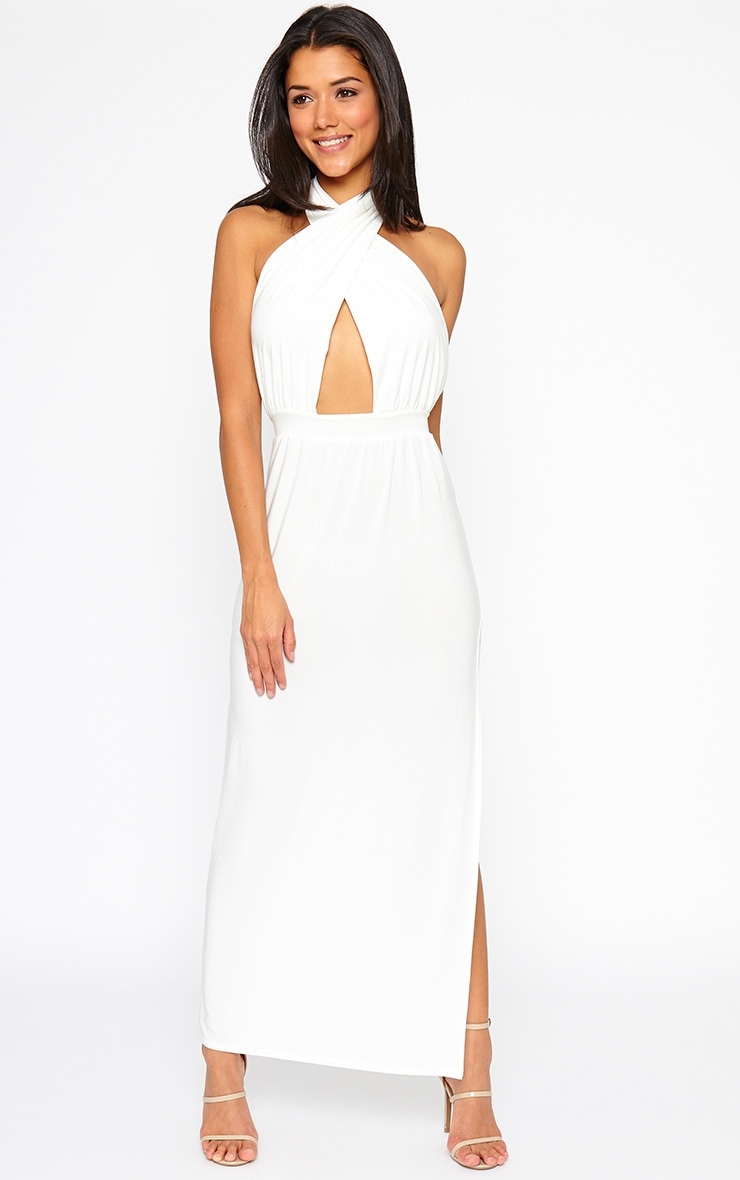 Satina Cream Halter Neck Maxi Dress 1