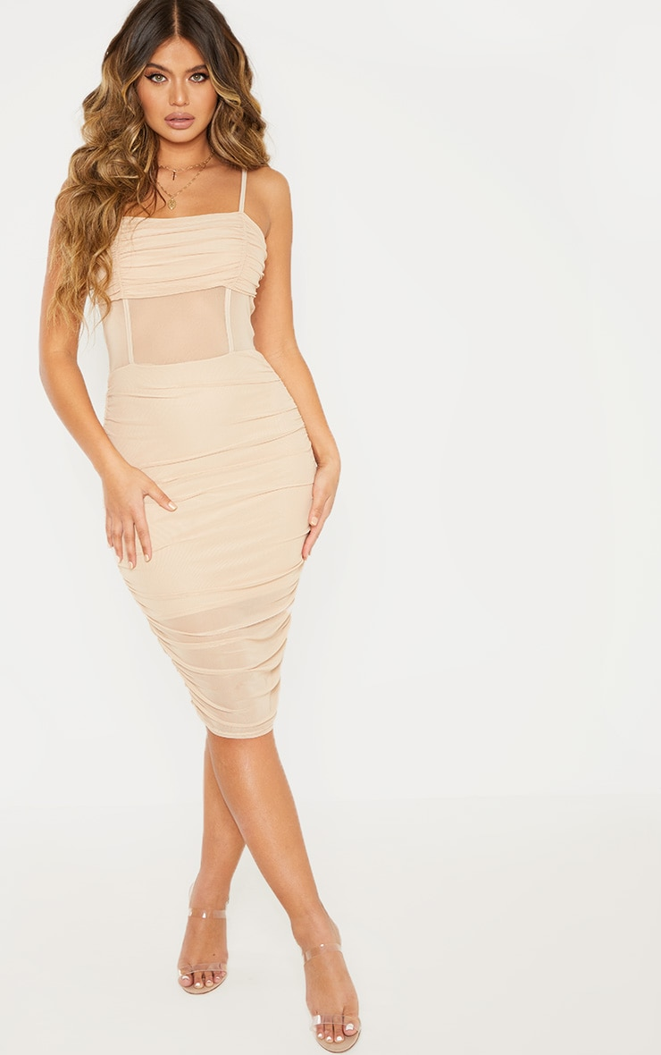 Stone Strappy Mesh Insert Ruched Midi Dress 4
