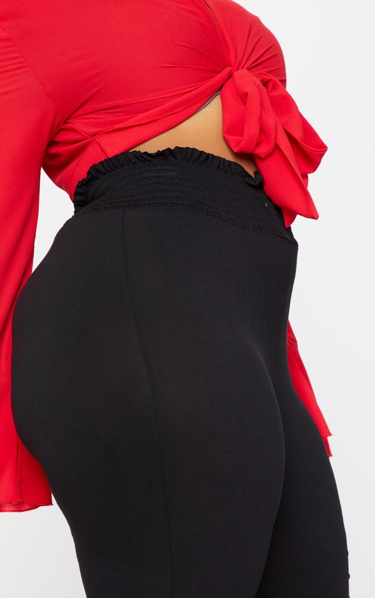 Plus Black Jersey Shirred Waist Wide Leg Trousers 5