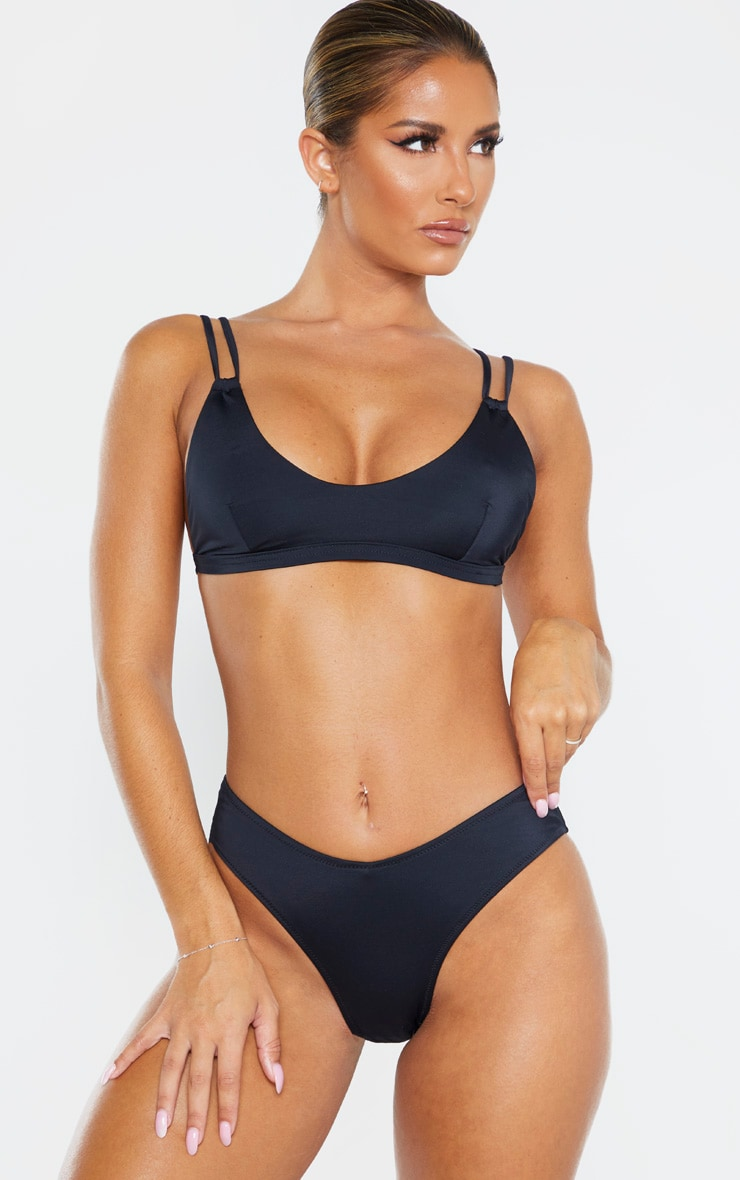 Black Recycled Fabric Mix & Match Double Strap Scoop Bikini Top 1