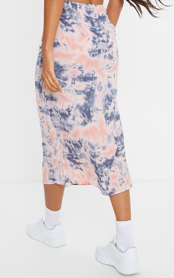 Pink Tie Dye Woven Midi Skirt 3